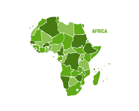 Vector illustration of a green Africa map