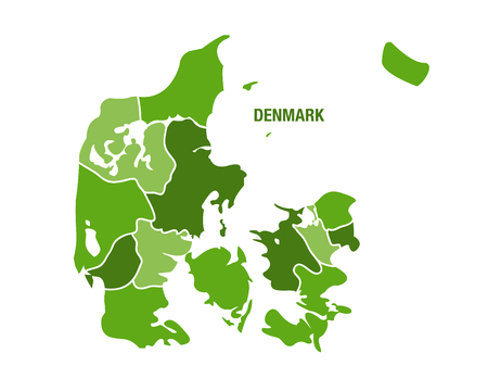 Vector map of Denmark with regions