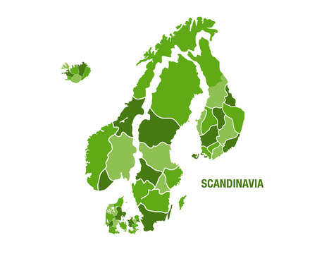 Vector illustration of a green scandinavia map