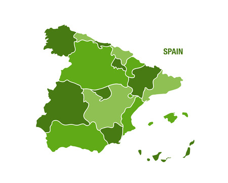 Vector illustration of a green Spain map Illustration
