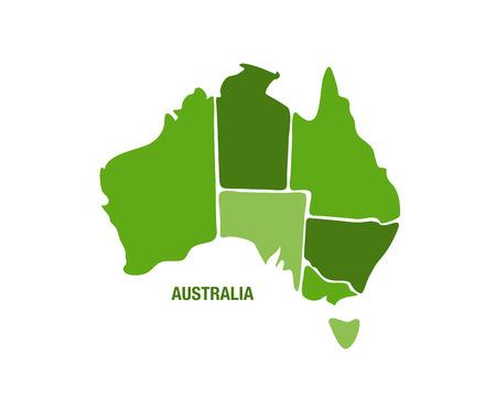 緑のオーストラリア地図のベクトル イラスト