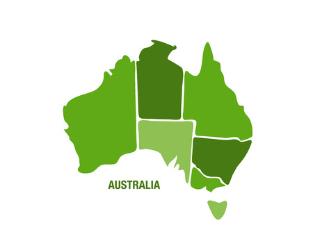australia: Vector illustration of a green Australia map Illustration