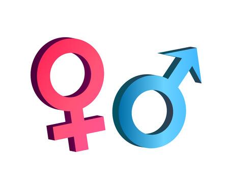 3d ベクトルで男性と女性のシンボル