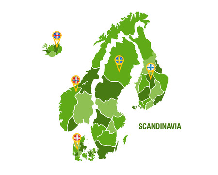 Vector illustration of a green scandinavia map with flags Ilustração