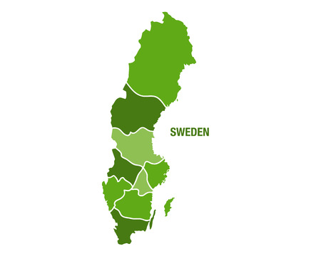 sverige: Vector illustration of the map of Sweden Illustration