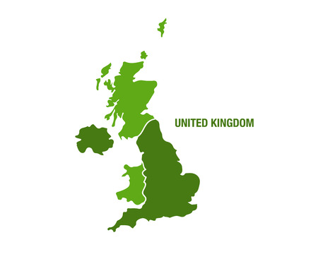 Vector illustration of a green United Kingdom map Иллюстрация