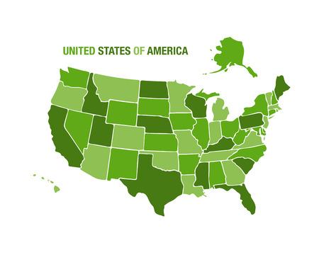 united nations: Ilustraci�n vectorial de un mapa de los estados unidos