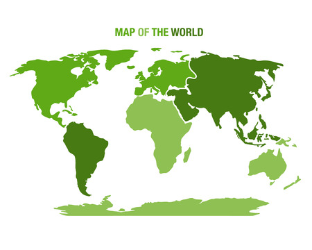 Vector illustration of a green world map Illustration
