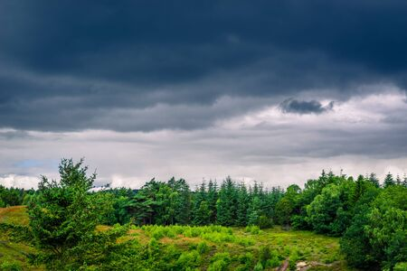 Danish Landscape with dark clouds in the summer Stock Photo