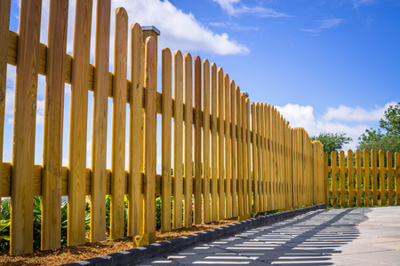 picket green: Wooden fence on a residental terrace