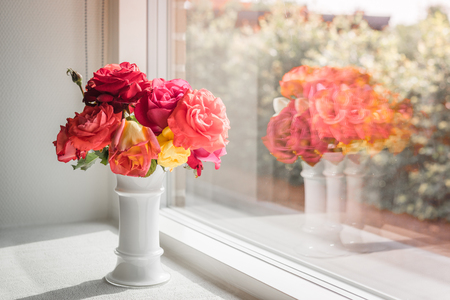 Vase with pink and red roses in a bright window Stock Photo