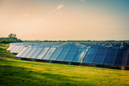 Solar park with blue cells on a green field
