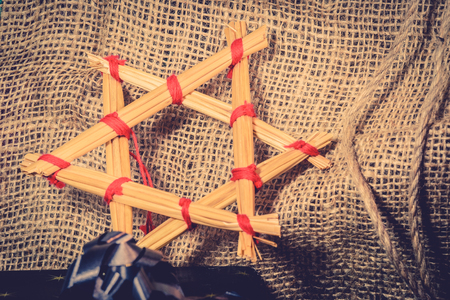 jewell: Christmas star made of straws in vintage colors