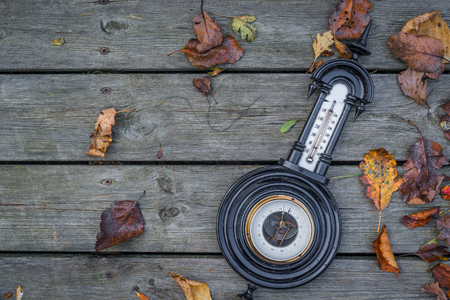 barometer: Antique barometer on wooden background in the autumn Stock Photo