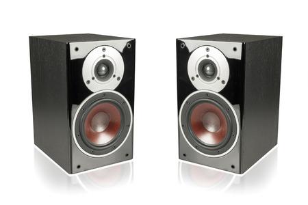hi fi: Big black speakers isolated on white background