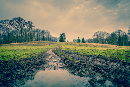 Muddy road with a puddle in autumn Stock Photo