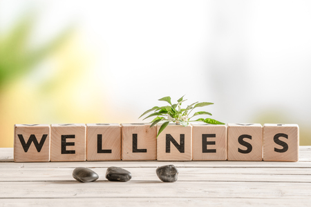 health: Wellness sign with wooden cubes and flowers and stones