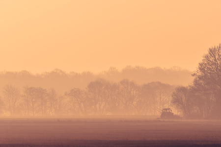 industrialized country: Misty morning with a tractor on a field in the sunrise
