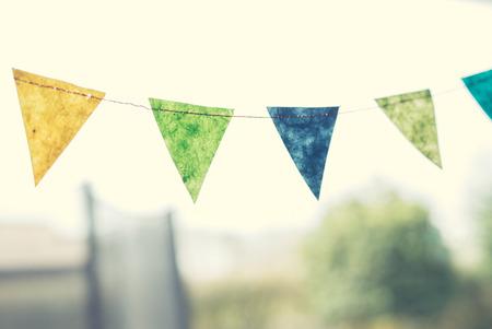 Banderas coloridas del cumpleaños en un jardín en la primavera Foto de archivo - 55221363