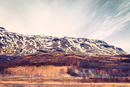 crater highlands: Mountain landscape in Iceland with geothermal fields