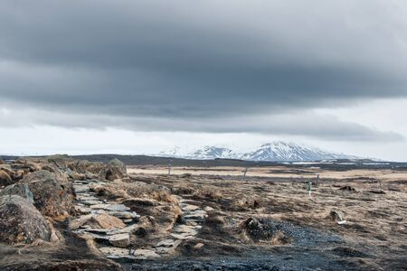 ice age: Ice age landscape from Iceland in cloudy weather Stock Photo