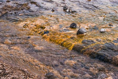 lava field: Water stream on a lava field in Iceland