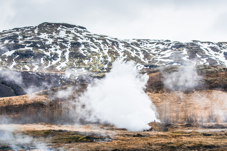 geothermal: Geothermal nature with steamy fields in Iceland