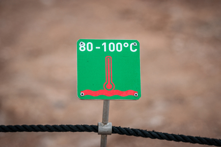 celcius: Boiling water warning sign in green color with celcius measures