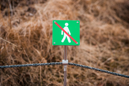 no entrance: Fence with a no entrance sign in the nature
