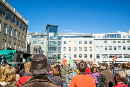 law of panama: REYKJAVIK, ICELAND - APRIL 9 - 2016: Reykjavik demonstration against the government of Iceland