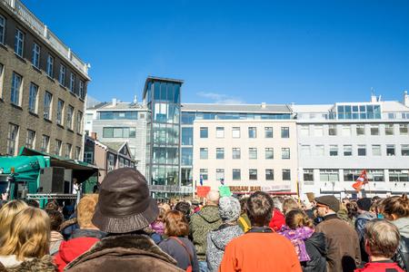 REYKJAVIK, ICELAND - APRIL 9 - 2016: Reykjavik demonstration against the government of Iceland
