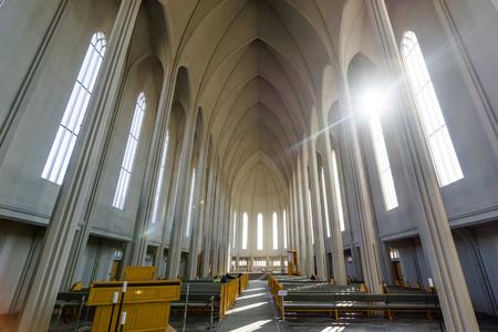 erikson: REYKJAVIK, ICELAND - APRIL 9 - 2016: Inside the Hallgrimskirkja in Reykjavik
