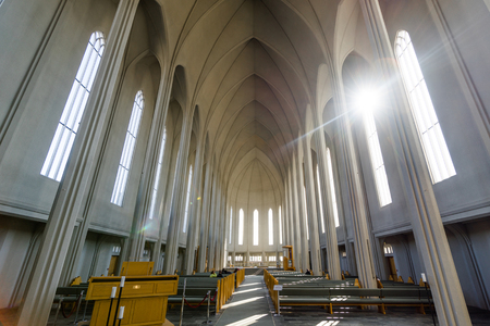 REYKJAVIK, ICELAND - APRIL 9 - 2016: Inside the Hallgrimskirkja in Reykjavik