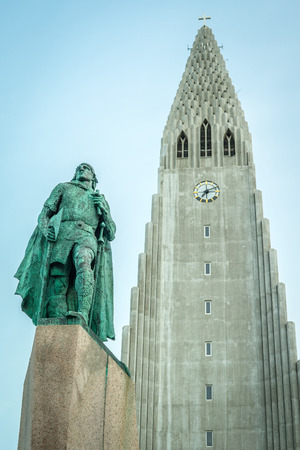 REYKJAVIK, ICELAND - APRIL 7 - 2016: The church of Hallgrímur with the statue of Leifur Eiriksson