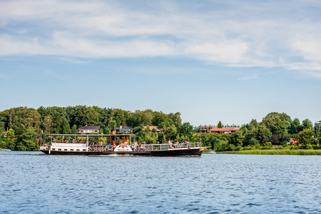 functional: SILKEBORG, DENMARK - JULY 25 - 2014: Hjejlen, the oldest functional steamboat in the world