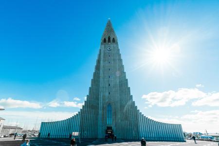 erikson: REYKJAVIK, ICELAND - APRIL 9- 2016: The mighty Hallgrimskirkja in Reykjavik, Iceland Editorial