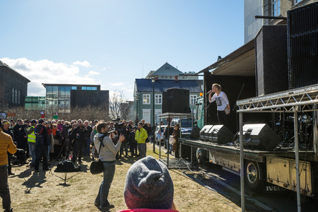law of panama: REYKJAVIK, ICELAND - APRIL 7 - 2016: Female speech at a demonstration against the Iceland government in Reykjavik