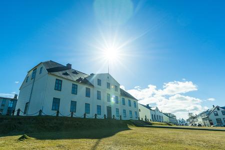 resident: REYKJAVIK, ICELAND - APRIL 9 - 2016: Reykjavik government resident stjornarradshusid Editorial