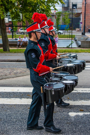 tilting: AABENRAA, DENMARK - JULY 6 - 2014: Russian tambour corps at a parade at the annual tilting festival in Aabenraa Editorial