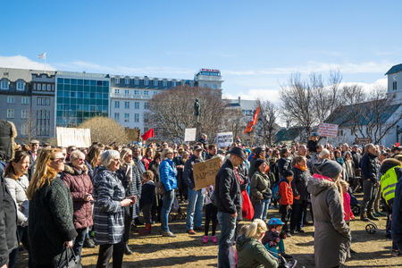 REYKJAVIK, ICELAND - APRIL 7 - 2016: Citizens in Reykjavik at the government of Iceland Editorial