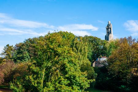 st pauli: HAMBURG, GERMANY - SEPTEMBER 19 - 2014: The Bismarck Monument memorial sculpture located in St. Pauli, Hamburg