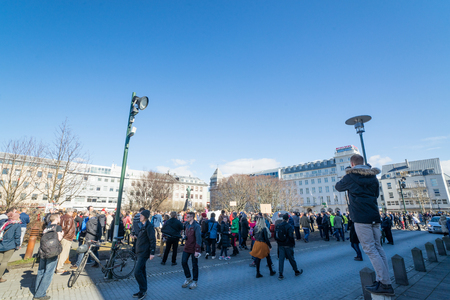 law of panama: REYKJAVIK, ICELAND - APRIL 9 - 2016: Citizens in Reykjavik, protesting against the government of Iceland during the Panama paper scandal