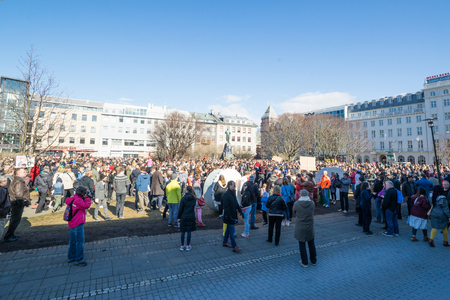 law of panama: REYKJAVIK, ICELAND - APRIL 7 - 2016: Citizens of Iceland demonstrating outside the council in Reykjavik