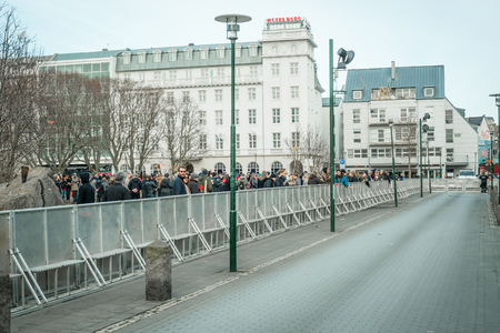 scandal: REYKJAVIK, ICELAND - APRIL 7 - 2016: Demonstration against the government of Iceland during the Panama paper scandal