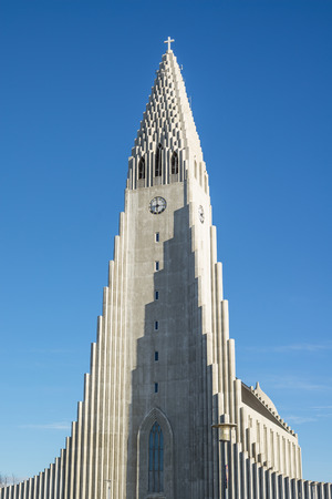 erikson: REYKJAVIK, ICELAND - APRIL 7 - 2016: The tower of the Hallgrimskirkja in Reykjavik, Iceland Editorial