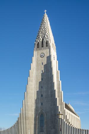 REYKJAVIK, ICELAND - APRIL 7 - 2016: The tower of the Hallgrimskirkja in Reykjavik, Iceland Editorial