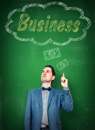 starting a business: Man in suit thinking of starting a business Stock Photo