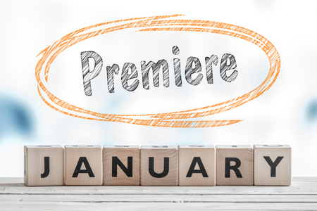 bluray: Premiere in January sign made of wooden cubes