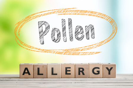 Pollen allergy headline with a wooden sign on a nature background Reklamní fotografie - 56085902