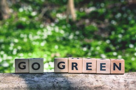 springtime: Go green message in a forest at springtime Stock Photo